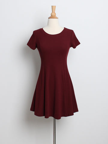 Lexie Basic Skater Knit Dress Wine
