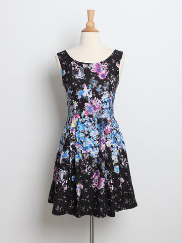 Madeleine Floral Placement Dress Black