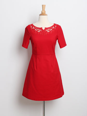 Lisa Embroidery Detail Sleeved Dress Red