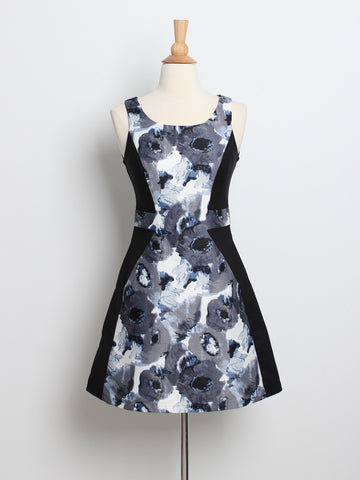 Dianne Floral Panel Skater Dress Black