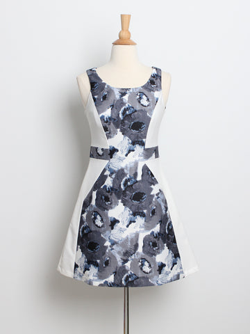 Dianne Floral Panel Skater Dress White
