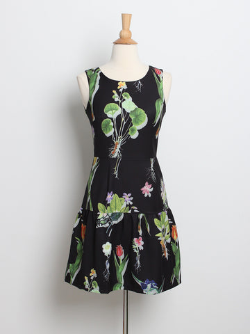 Julianna Floral Panel Dress Black