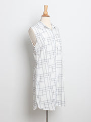 Elizabeth Grid Shirt Dress White with Belt