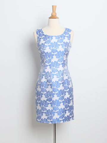 Brianne Chinoiserie Shift Dress Blue