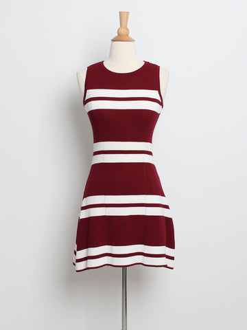 Blanche Striped Knit Dress Red