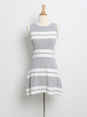 Blanche Striped Knit Dress Grey