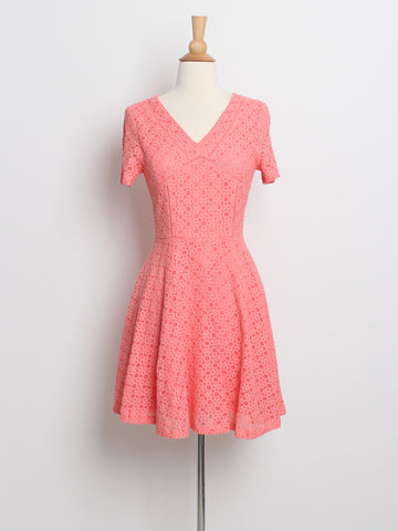 Ashley Crochet Lace Dress Coral