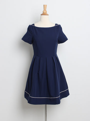 Samantha Sleeved Dress Navy
