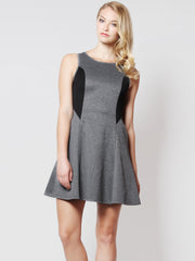 Kelsey Back Detail Skater Dress Grey