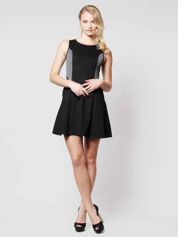 Kelsey Back Detail Skater Dress Black
