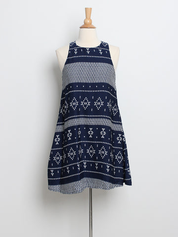Rache Printed Trapeze Dress Navy