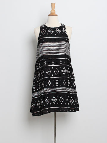 Rache Printed Trapeze Dress Black