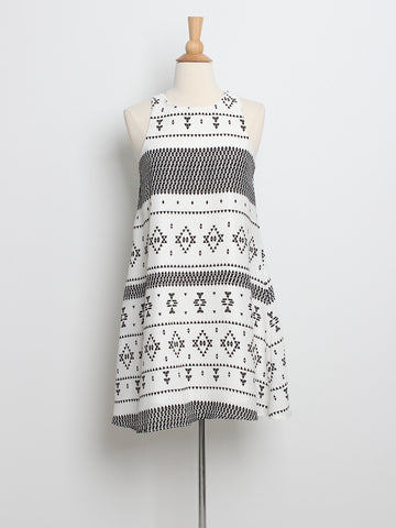 Rache Printed Trapeze Dress White