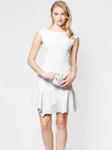 Hayley Asymmetrical Hem Dress White