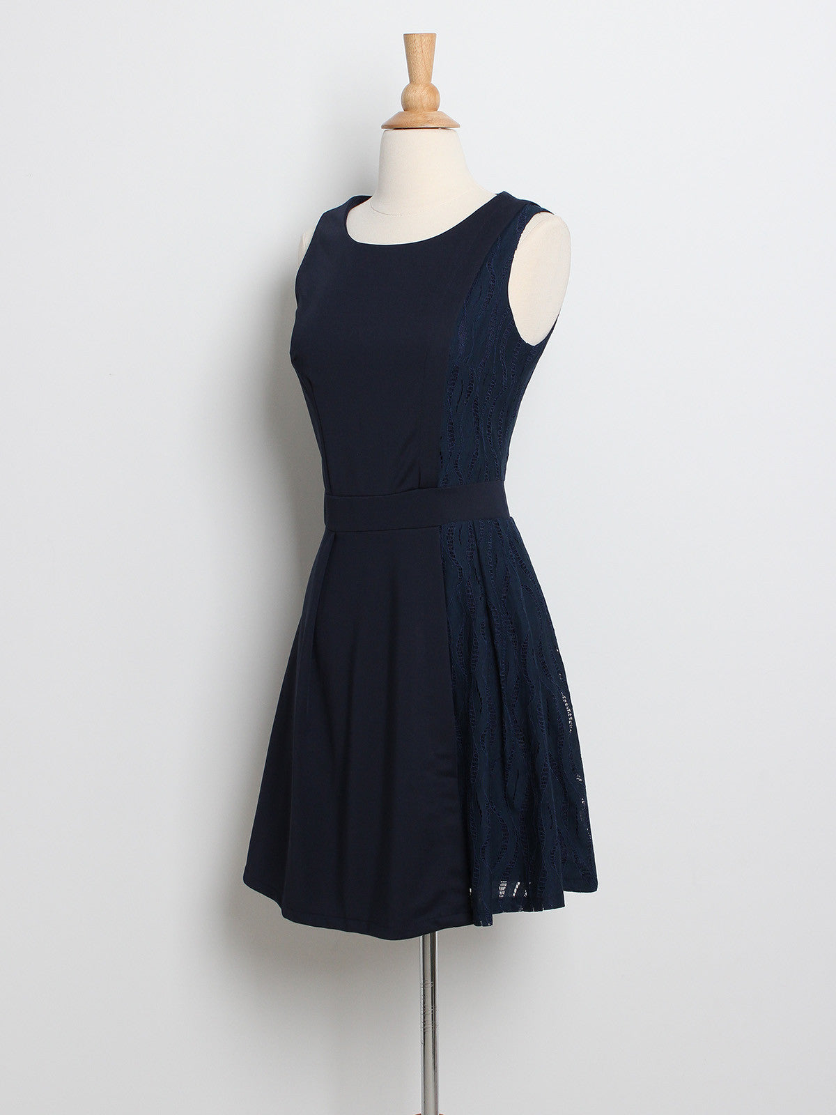 Evonne Lace Panel Skater Dress Navy