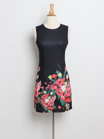 Renee Floral Placement Dress Black