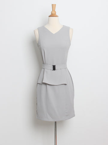 Bree Panel Dress with Belt Grey