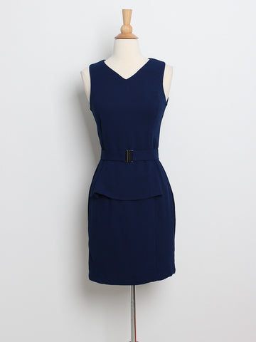 Bree Panel Dress with Belt Navy