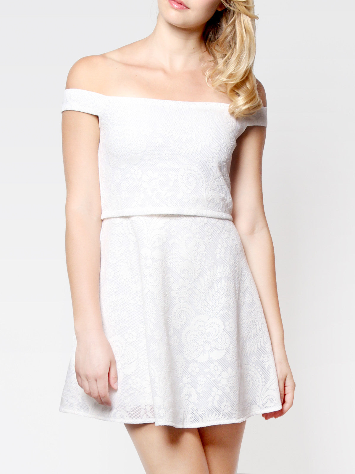 Evelyn Off Shoulder Crop Dress White