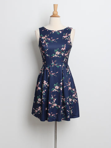 Cherry Blossoms Dress Navy