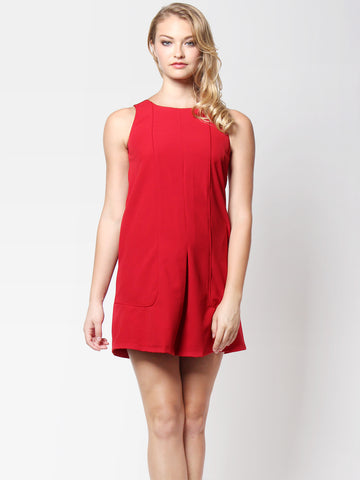 Veronica Panel Dress Red