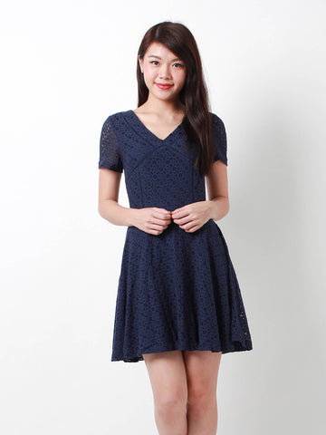 Emily Crochet Lace Dress Navy