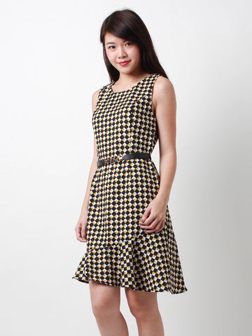 Joey Flutter Hem Printed Dress Yellow