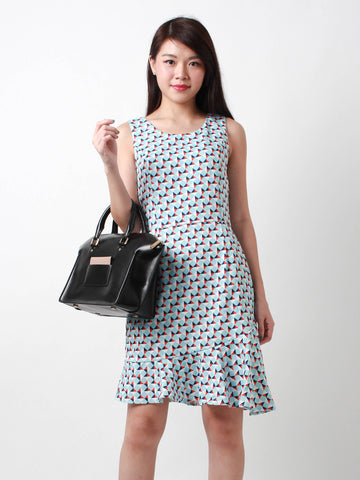 Joey Flutter Hem Printed Dress Blue
