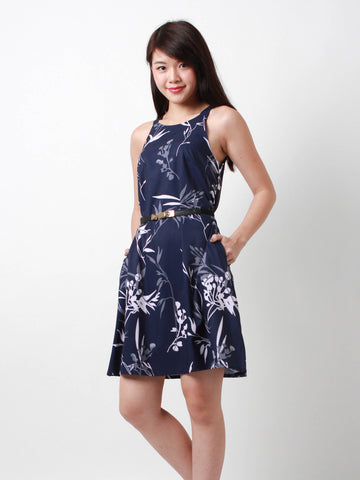Eden Blooms Trapeze Dress Navy