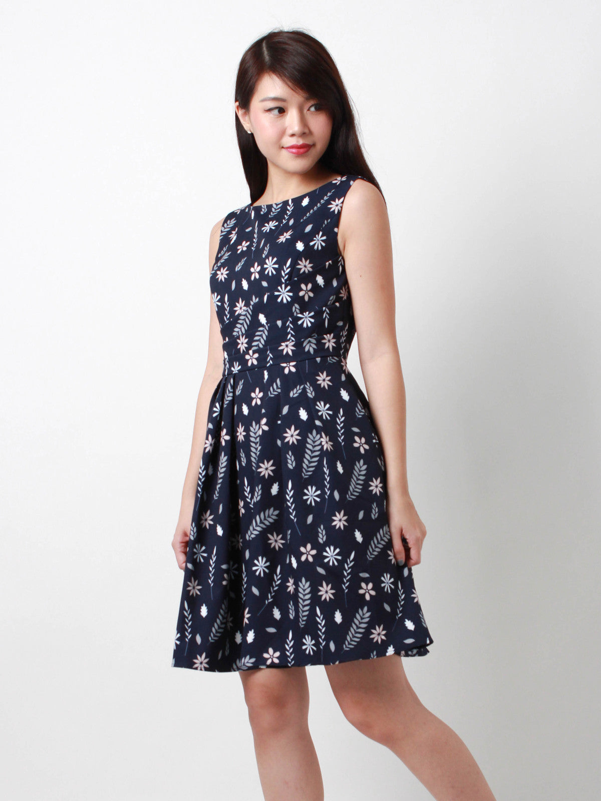 Josephina Slanted Front Pleat Dress Navy