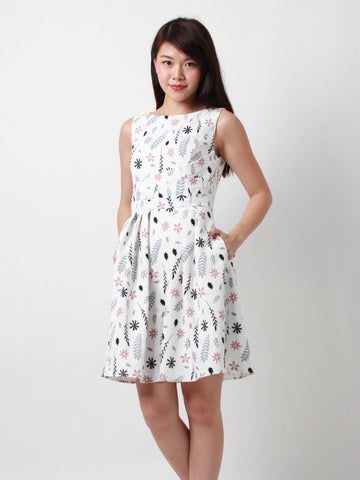 Josephina Slanted Front Pleat Dress White