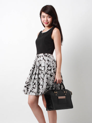Bernadette Printed Skater Dress Black