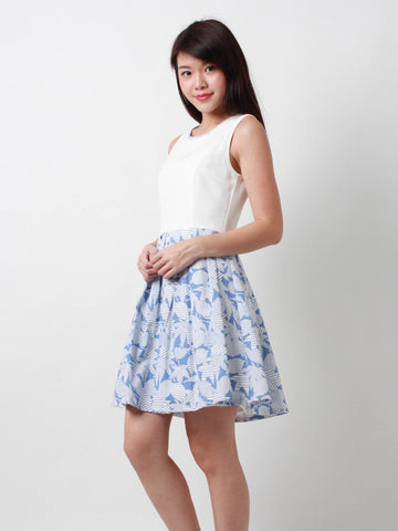 Bernadette Printed Skater Dress White