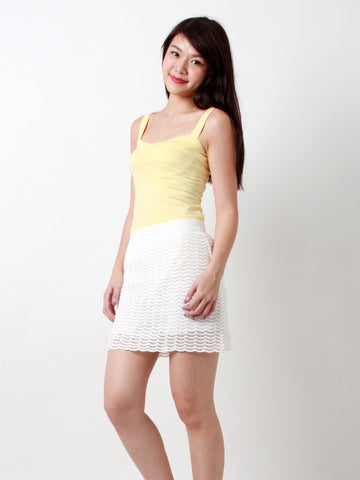 Claire Scallop Lace Mini Skirt White