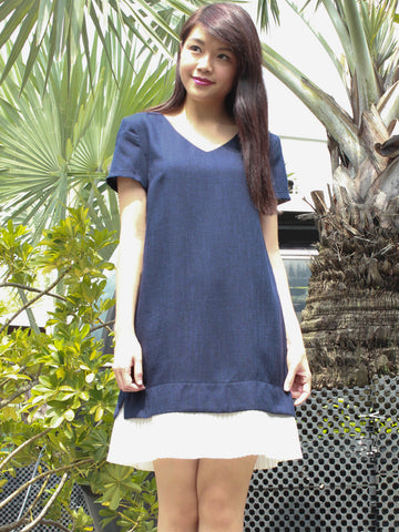 Hazel Sleeved Dress Navy