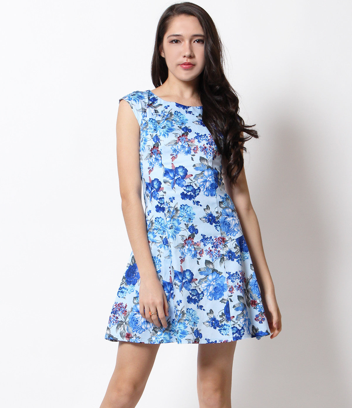 Vanessa Floral Capped Sleeve Dress Blue