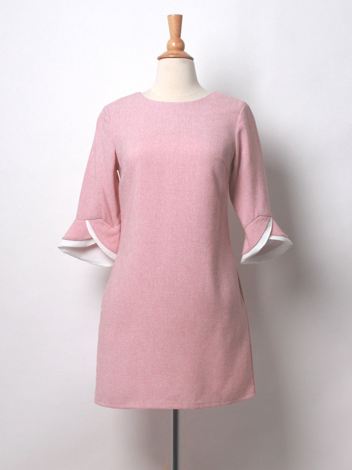 Ashleigh Tweed Tulip Sleeved Dress Pink