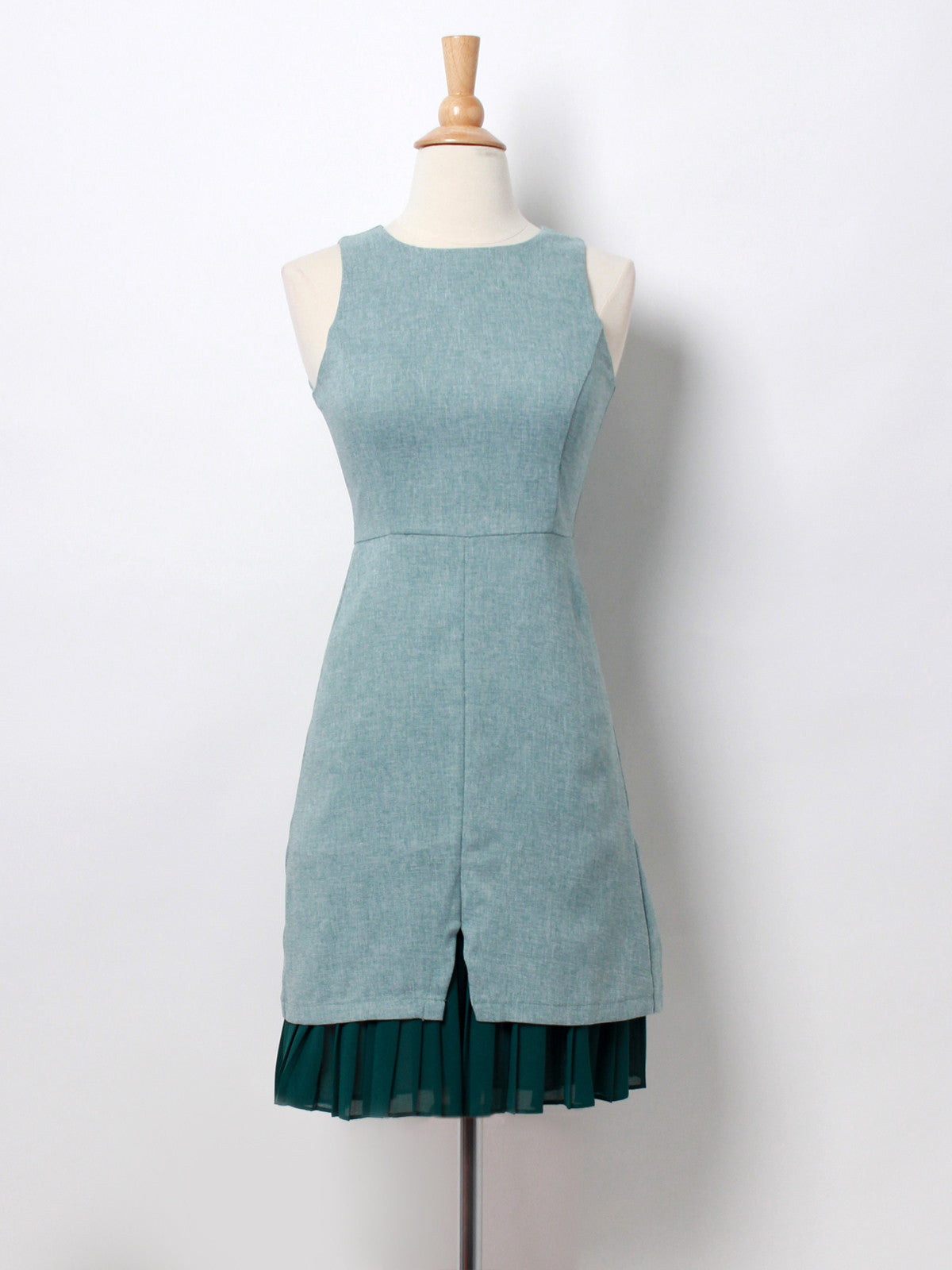 Veronica V Slit Chiffon Hem Shift Dress Jade