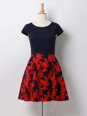 Ana Leaf Print Skater Dress in Rose
