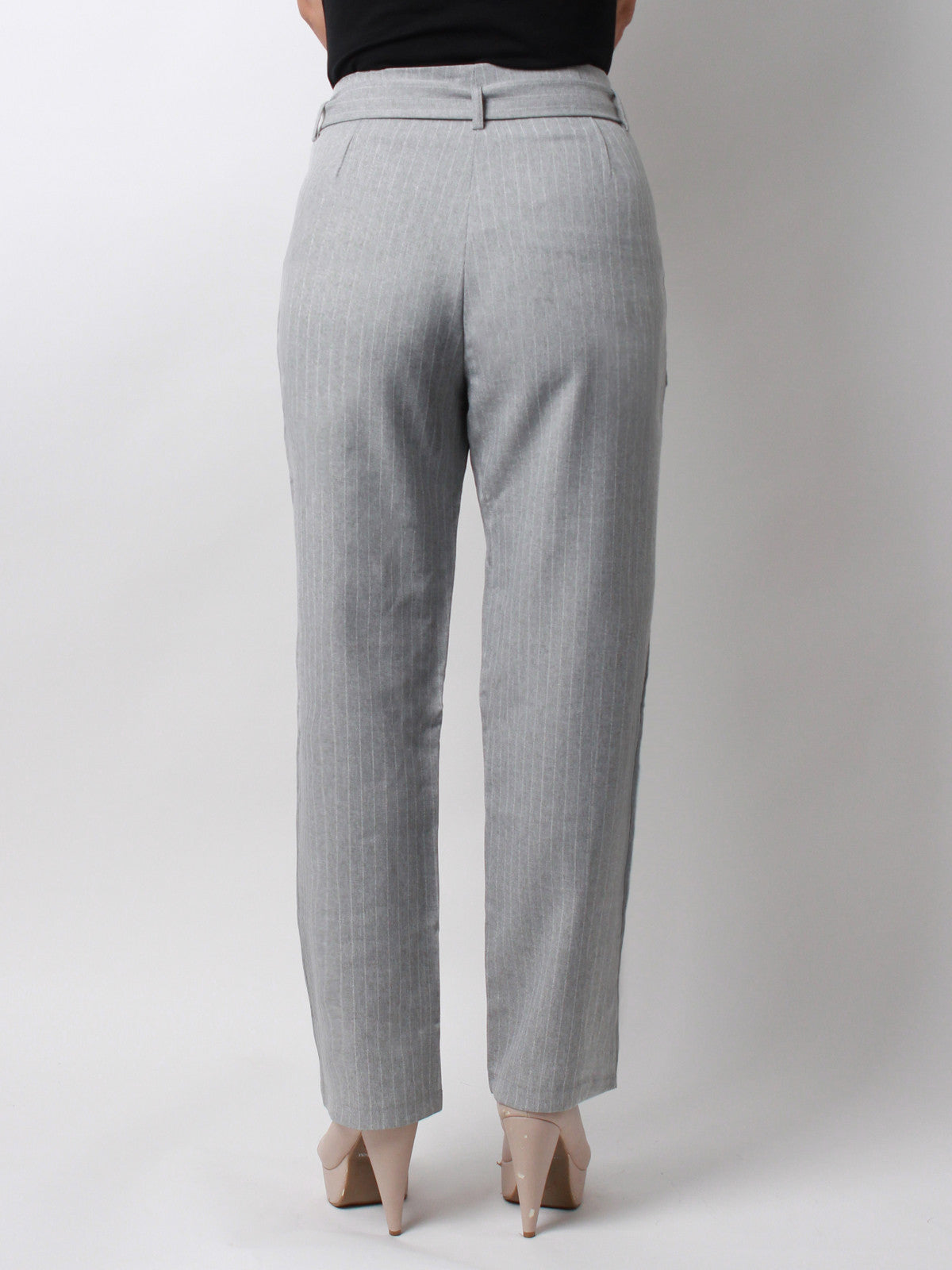 Taylor Pinstripe Pants with matching sash Ash