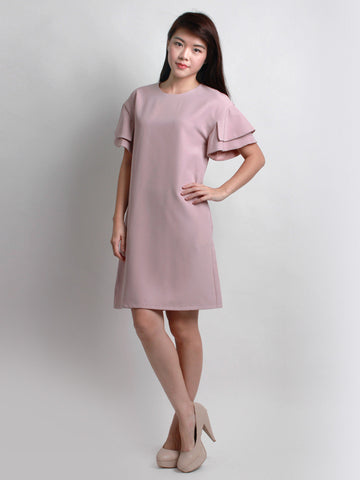 Charlotte Ruffle Sleeve Shift Dress Mauve