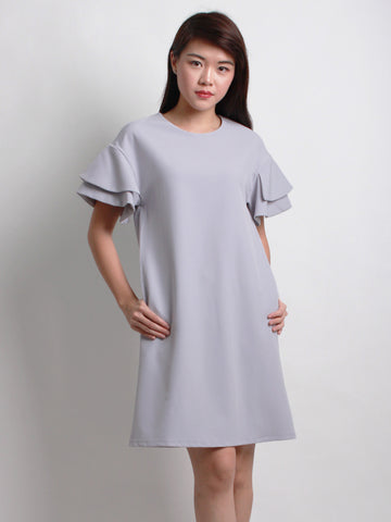 Charlotte Ruffle Sleeve Shift Dress Steel Purple