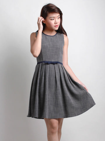 Aveline Ribbon Midi Dress Charcoal