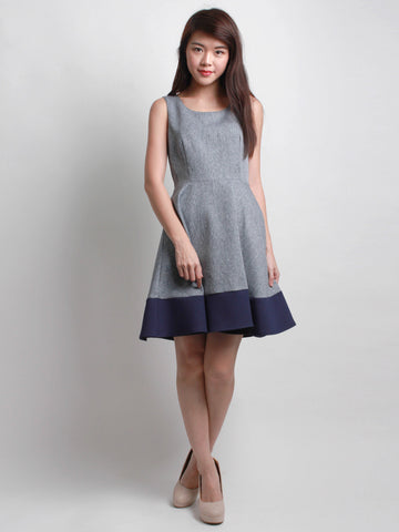 Geraldine Tweed Panel Skater Dress Navy