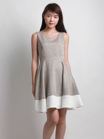 Geraldine Tweed Panel Skater Dress Bronze