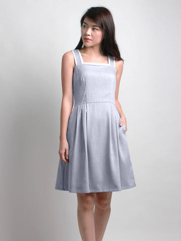 Zelma Summer Pinafore Dress Blue