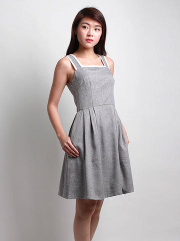Zelma Summer Pinafore Dress Grey