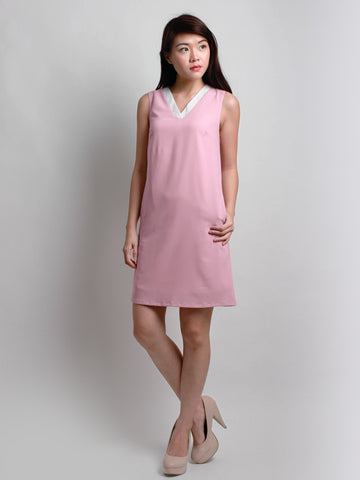 Caitlin V-Neck Shift Dress Pink