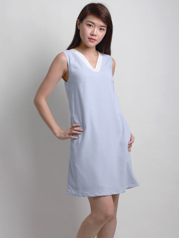 Caitlin V-Neck Shift Dress Sky Blue