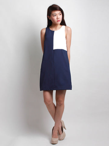 Cassandra Dual Tone Work Dress Blue